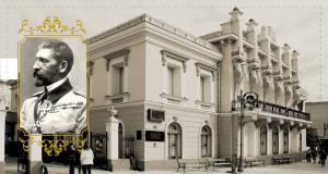 """Palatul Regelui Ferdinand - în sediul Creditului Urban Iași (fostul Palat Cuza). Regele Ferdinand """"Întregitorul""""."""