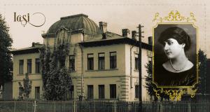 """Societatea Ocrotirii Orfanilor de Război - în localul Școlii de Menaj """"Regina Maria"""", astăzi Institutul de Filologie Română """"A. Philippide"""" (Str. Codrulescu, nr. 2). Olga Sturdza, președinta Societății George Enescu."""